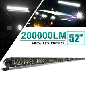 """6D DUAL ROW 52"""" 2000W LED LIGHT BAR COMBO OFFROAD DRIVING FOR JEEP FORD SUV BOAT"""