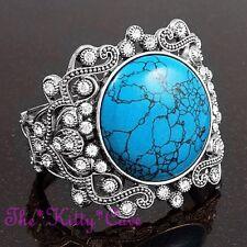 Vintage Victorian Scroll Turquoise Stone Silver Bangle Cuff w/ Swarovski Crystal
