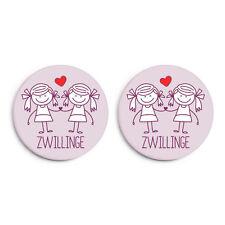 Zwillinge (Mädchen): Geschenk zur Geburt/ Geburtstag - Button 2er Set NEU