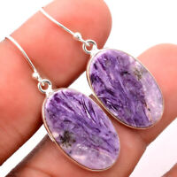 Natural Siberian Charoite 925 Sterling Silver Earrings Jewelry 1947