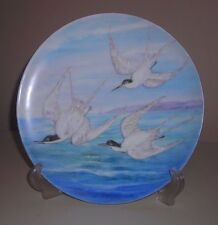 "Haviland France Hand Painted Terns Bird Ocean Plate  9 1/8"" Vintage gold trimmed"