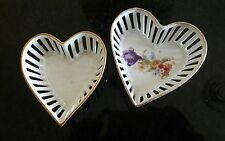 set of 2 Porcelain German Bavaria Heart Dishes