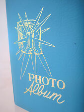 VTG MID CENTURY VINYL PHOTO ALBUM TURQUOISE CAMERA FLASH CUBE GRAPHIC BRAG BOOK