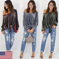 Women's Shoulder Off Long Sleeve T-shirt Tops Velvet Blouse Tee Hoodies Jumper