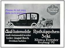 Audi Automobile Zwickau Reklame 1914 Rotkäppchen Sekt Freyburg Transport Fahrrad