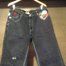 SKULL JEANS 35 x 31  By Kandi DENIM BLUE JEANS SKULLS ON POCKETS