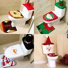 Set of 3 Christmas Decor Santa Bathroom Toilet Pad Seat Cover Rug Elf Snowman