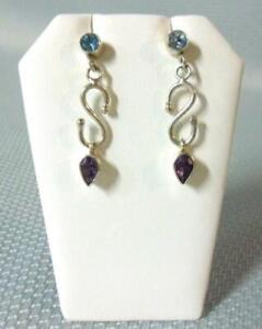 Sterling Silver Amethyst Aquamarine Teardrop Chandelier Earrings