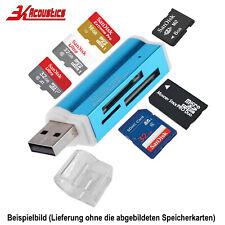 Kartenlesegerät Kartenleser TF Card Reader Micro SD MMC M2 USB Stick Blau
