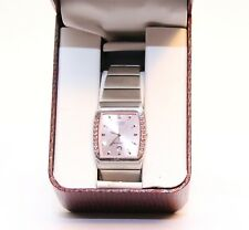 Citizen Quartz Ladies Rose Gold Pink with Gems Rectangular Watch S005876 JAPAN