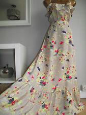 MONSOON DELANO MAXI FRILL NUDE FLORAL SUMMER HOLIDAY BEACH WEDDING DRESS 18