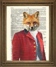 Fox Hunter: Rojo Vintage Foxy Caza Animal Diccionario página Art Print