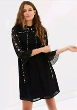 £159 Whistles Black Floral Embroidered Amira Dress size 12 BNWT Frill Sleeve