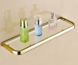 Bathroom Shower Shelf Glass Basket Storage Rack Retro Brass Wall mounted New HOT