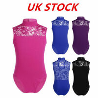 UK Girls Gymnastics Leotards Dance Ballerina Yoga Jumpsuits Lace Neck Dancewear