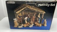 Vintage Christmas Sears & Roebuck 11 Piece Nativity Set with Box