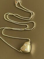 Solid 14ct Yellow Gold Solitaire Diamond Necklace Heart Pendant & Bead chain