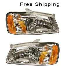 Halogen Head Lamp Assembly Set of 2 LH & RH Side Fits 2000-2002 Hyundai Accent