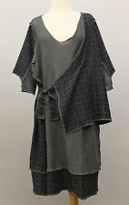 PRISA EURO COTTON KNIT STITCHED S/S PULLOVER TUNIC BLOUSE GRY BLK O/S US 18 $360