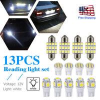 13x Auto Car Interior White LED Lights Dome License Plate Lamps 12V Kit Bright