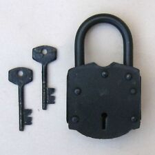 "ANTIQUE LOCK OLD STYLE WITH KEYS 4.5""H - PADLOCK AND KEYS - PIRATE -"