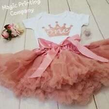 1st Birthday Outfit Baby Girls Frilly Tutu Dress Skirt Cake Smash rose gold UK
