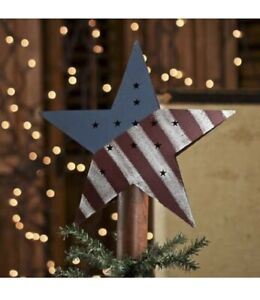 Primitive Rusty Tin Americana Red White & Blue Star Tree Topper
