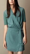 NEW $595 Burberry Brit Silk Georgette Opal Green Wrap Dress Size US 8, US 14