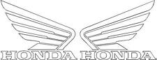 HONDA WINGS 2x 115mm Motorcycle Bike Tank Fairing Decals / Sticker ( WHITE )