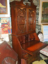 American, 20thc , Mahogany Secretary Desk, Serpentine with leather writing surfa