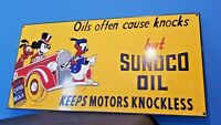 VINTAGE WALT DISNEY PORCELAIN MICKEY MOUSE SUNOCO GASOLINE MOTOR OIL SIGN 24""