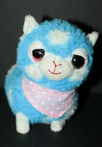 "Applause ALPACA Llama Saneon Blue White Polka Dot 7"" Plush Stuffed Toy"