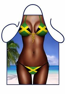 WOMEN'S FUN SEXY NOVELTY APRON, JAMAICA FLAG BIKINI APRON,BBQ, CURRY GOAT CHEF