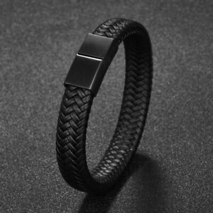 Men Jewelry Black Braided Leather Bracelet Stainless Steel Clasp Bangle Hip-hop