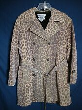 Marvin Richards Animal Print Swing Coat Faux Fur Lined Belt Trench Women Medium
