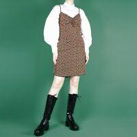 VINTAGE 90s Grunge Short Ditsy Floral Slip Ruched Tie Boho Pattern Dress S 8