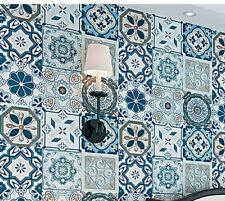 3D textured Wallpaper bohemian tile white blue vintage 9.5m