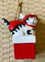 Vintage B. Kliban Christmas Signed, 1981 Ornament, Cat Chimney w/ Reindeer Cap