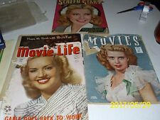 3 1940's Magazines Color Vintage Movie Advertisements Celebrity Clippings