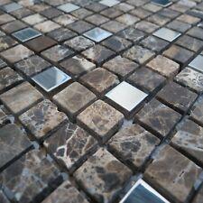 Italia Beige Brown Metal Natural Stone Mosaic Tile Sheets Bathroom Kitchen Wall