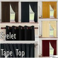 Pair Fully Lined Faux Silk Plain Curtains in Eyelet or Tape Top