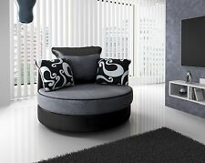 Shannon 3 2 Seaters Sofas Armchair Suite Grey Black Beige Brown Chenille Swivel Chair Grey/black