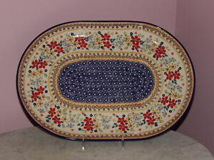 Polish Pottery Large Oval Platter! UNIKAT Signature Rembrandt Pattern!