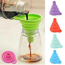 Silicone Gel Practical Collapsible Funnel Hopper Foldable Kitchen Tool Gadget KJ