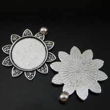 Setting Tray 25mm Jewelry 50222 7pcsVintage Silver Alloy Sun-flower Round Cameo