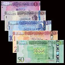 Libya, Lybien set 5 PCS, 1 5 10 20 50 Dinar, 2013-2016, P-76-NEW, UNC