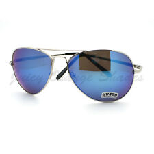 Aviator Sunglasses Classic Silver Metal Frame with Blue Multicolor Lens