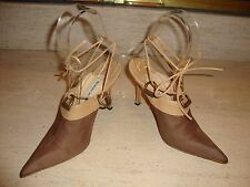 GORGEOUS TAUPE LEATHER SHOE BOOTS / BOOTIES / HEELS BY MANOLO BLAHNIK