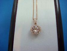 14K ROSE GOLD 0.80 CT T.W. PEACH MORGANITE AND DIAMOND HALO CLASSIC PENDANT