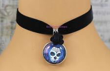 Goth Negro Terciopelo Gargantilla Collar Día de los muertos azúcar mexicana Cráneo Rose
